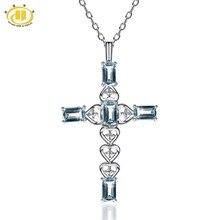 Hutang Natural Auqamarine Diamond Jewelry Fine Collier Femme Cross Maxi Necklaces & Pendants 925 Sterling Silver Necklace Women