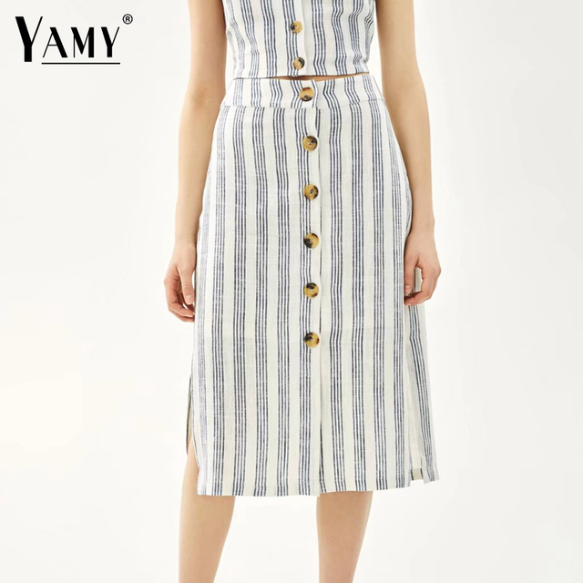 6d305d83566 korean fashion white striped midi skirts womens Summer button split office  linen skirts 2018 Summer casual