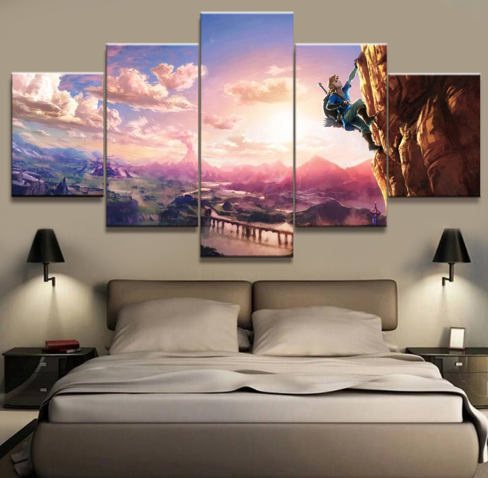5 Panel The Legend Of Zelda Game Canvas Printed Painting For Living Room Picture Wall Art