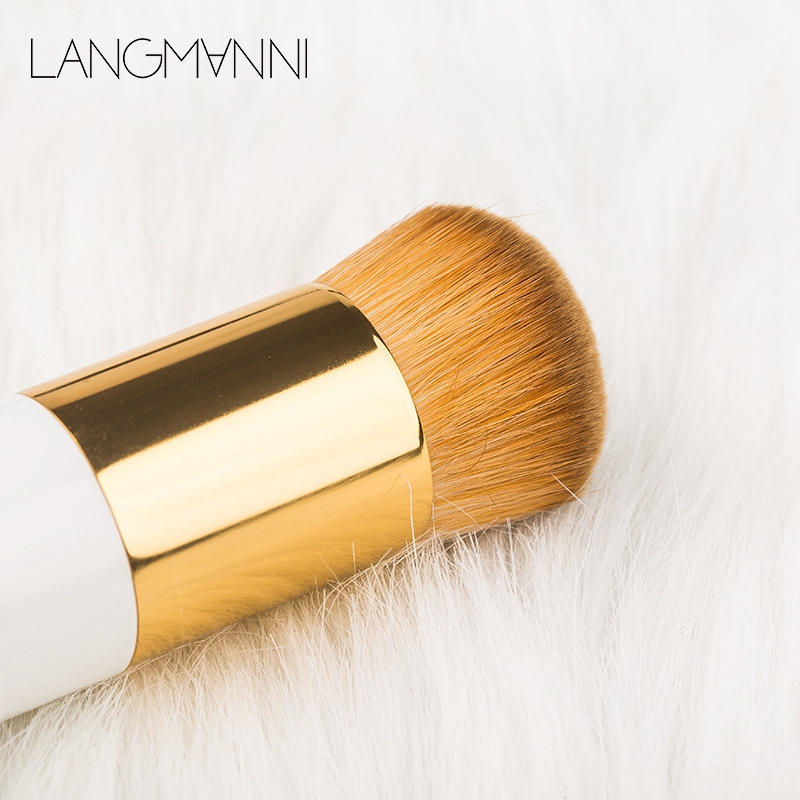 Langmanni Bristles Nylon Hair Brush Handle Plastic Chubby Pier Foundation Brush Makeup Brush Beauty Makeup Tool Round Head F in Eye Shadow Applicator from Beauty Health