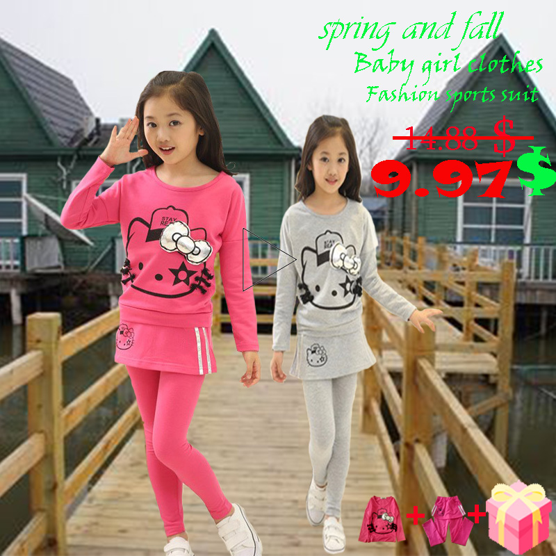 Girls clothes autumn and winter  children Clothing Suit 3-14 year girls sports Suit high-quality long-sleeved  T-shirt+ trousers