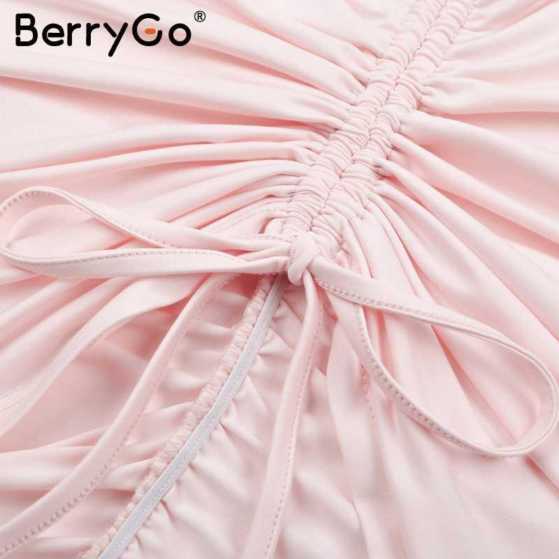 BerryGo ruché sexy dos nu robe moulante femmes sangle col en v blanc robe courte femme décontracté maigre robe d'été fête