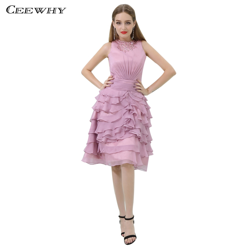 CEEWHY Ruffles Chiffon Short Formal   Dress   Elegant   Cocktail     Dresses   Crystal Beaded Prom Gown Homecoming Graduation   Dresses
