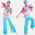 S-4XL Feminino Chinês Tradicional Roupas Plus Size Mulheres de Vestido de Dança Yangko Traje Chinês Folk dança Quadrado Top + Calça + Headwear