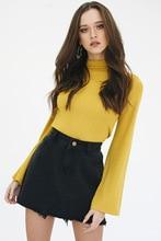 New Autumn 2017 Casual Women's T-shirts Half Turtleneck Long Sleeve Flare Sleeve Shirt Slim Yellow Women Clothing Tops