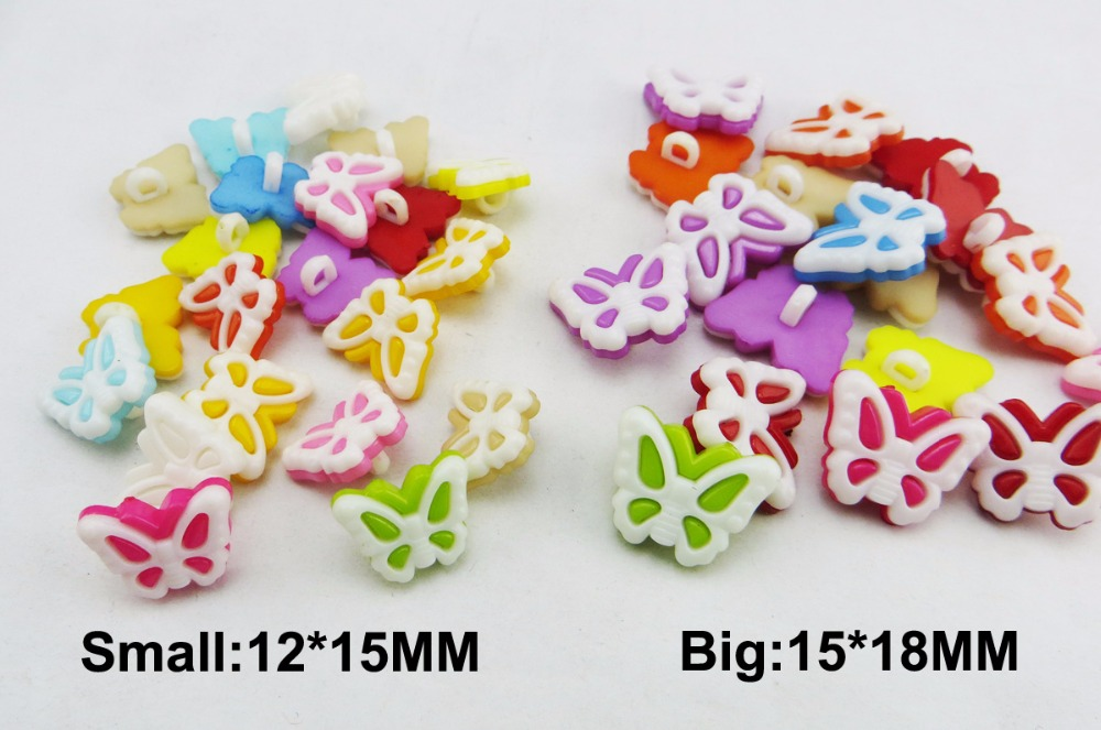 100PCS BUTTERFLY mixed plastic button for KIDS clothes fits jewelry craft P-197