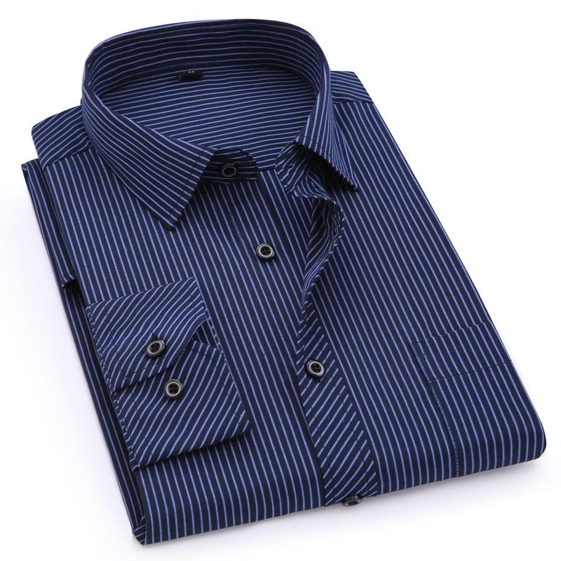 Plus Large Size 8XL 7XL 6XL 5XL 4XL Mens Business Casual Long Sleeved Shirt Classic Striped Male Social Dress Shirts Purple Blue 4