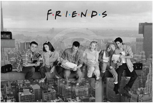F310 Hot Sale Friends Lunch on a Skyscraper Canvas Fabric Poster Prints custom poster