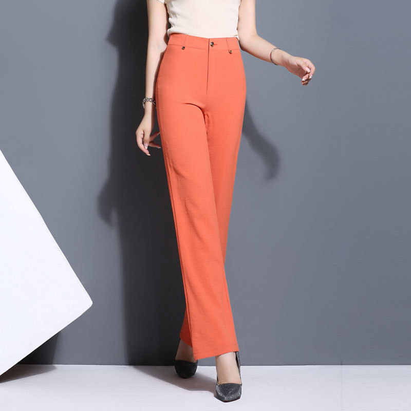 2018 new spring and summer womens pants high waist straight thin pants white black beige orange trousers solid color plus size
