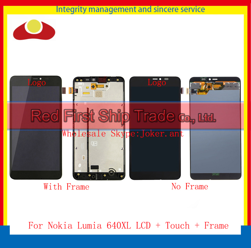 High Quality For Nokia Lumia 640XL LCD Display Touch Screen Digitizer Sensor Assembly Complete Panel With Frame Free Shipping smartphone high quality for htc one m9 lcd display touch screen digitizer panel assembly with frame free shipping