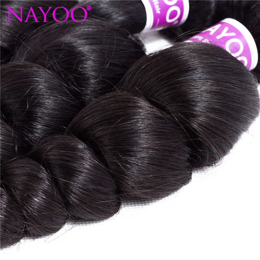 NAYOO Loose Wave Malaysia Hair Weave Bundles 100% Human Hair 3 Piece 8-26inch Remy Hair Extension No Tangle Can be Dye