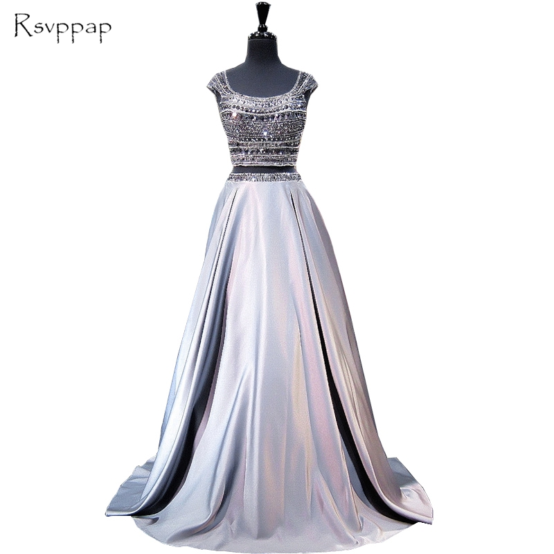 Long   Prom     Dress   2019 Sparkly A-line Cap Sleeve Stunning Beaded Crystals Floor Length Grey Backless Two Piece   Prom     Dresses