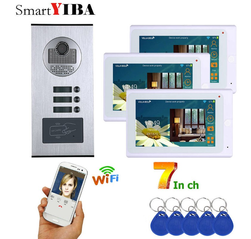 SmartYIBA RFID Keyfobs 3 Units Apartment WiFi Video Door phone Intercom System Kits 7 Monitor Audio Video Doorbell Entry SystemSmartYIBA RFID Keyfobs 3 Units Apartment WiFi Video Door phone Intercom System Kits 7 Monitor Audio Video Doorbell Entry System
