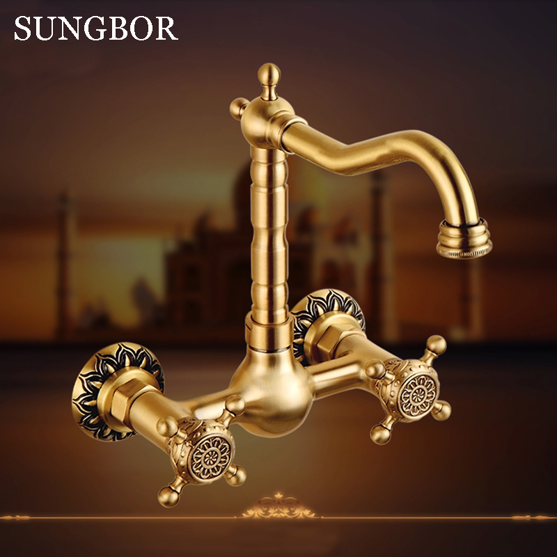 High quality brass wall mounted Kitchen faucet hot and cold antique carved kitchen sink basin faucet tap mixer CF-9125F