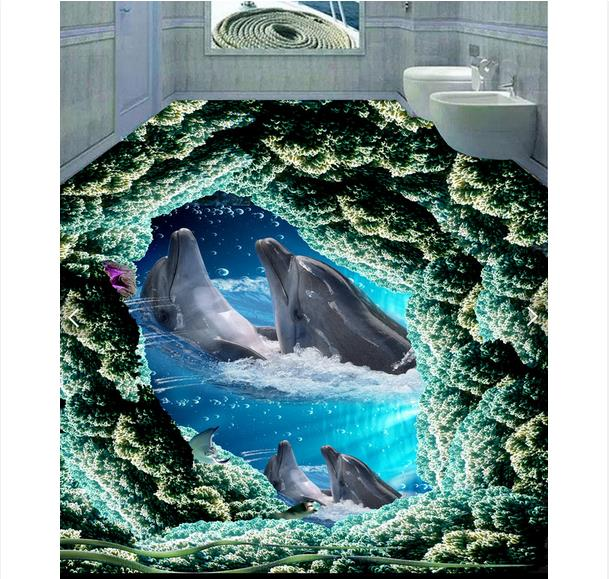 ФОТО 3d wallpaper custom 3d flooring painting wallpaper murals Dolphin bathing bedroom floor 3D wall 3d living room photo wallpaer