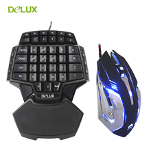 Delux Gamer Gaming T9 Keyboard and Mouse Combo Set PC Professional Single Hand Wired Keyboard Macro 3200 DPI LED Game Mouse