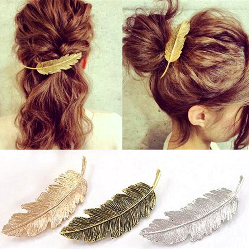 Timlee Hair-Clip Bobby-Pin Textured Feather-Alloy Retro Girls Leaf H010 Wholesale Popular