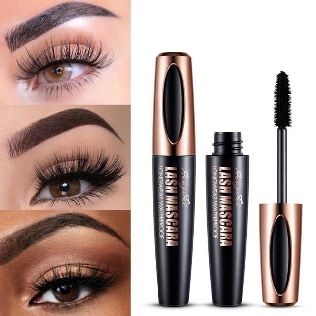 4D Silk Fiber Black Thick Lash Mascara Eyelash Extension Mascara Waterproof Lengthening Eye Lashes Cosmetics