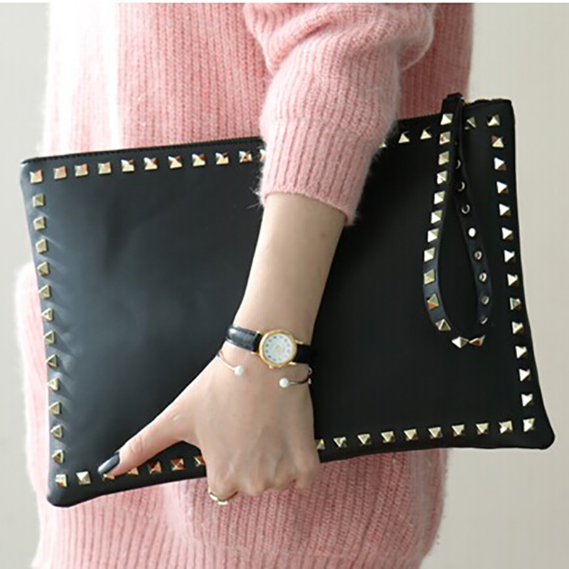 Mano de lujo Bolsas mujeres Bolsas 2016 diseñador moda remache cadena bolso  Messenger embrague Embragues bolsa feminina f0a9dfcb9a7