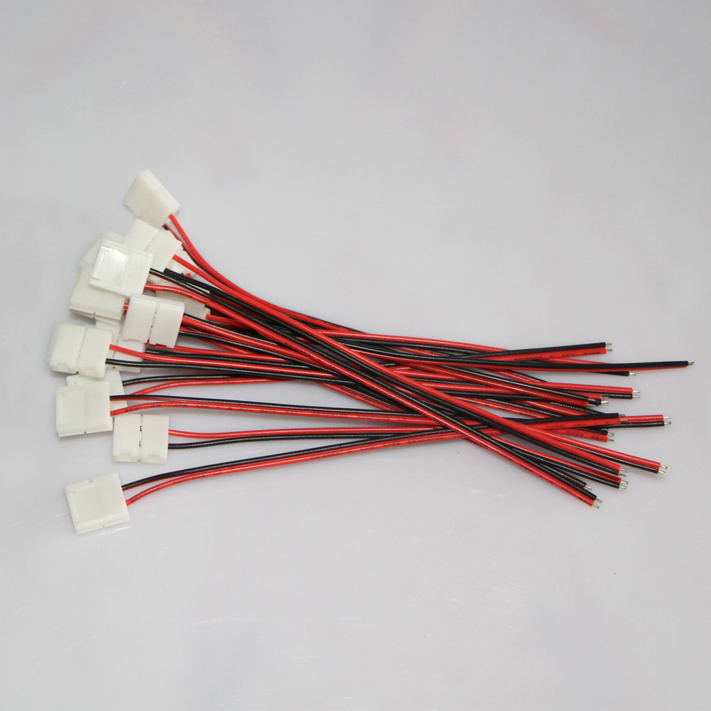 10pcs/lot 10mm 2 pin free solder LED Connector Cable wire PCB ...