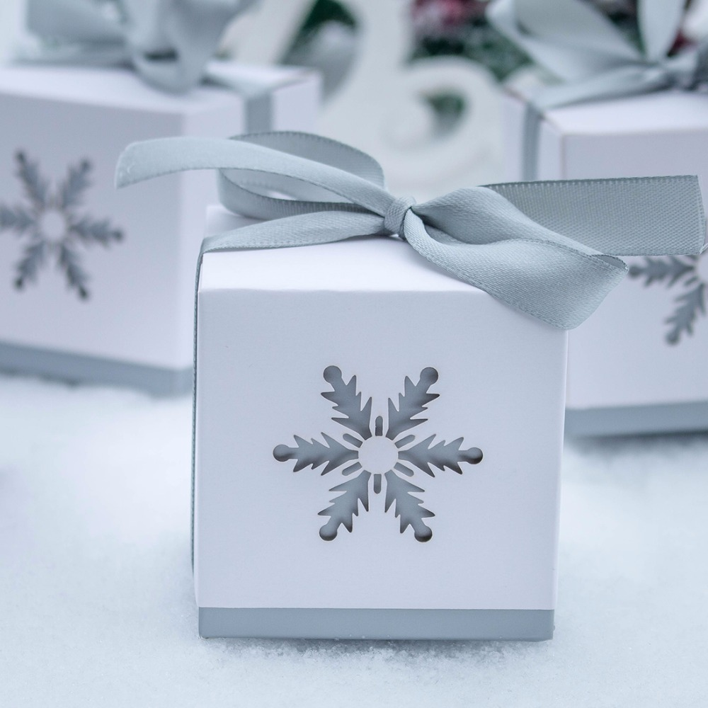 Hd 50pc Snowflake Laser Cut Candy Box Wedding Favors And Gifts For
