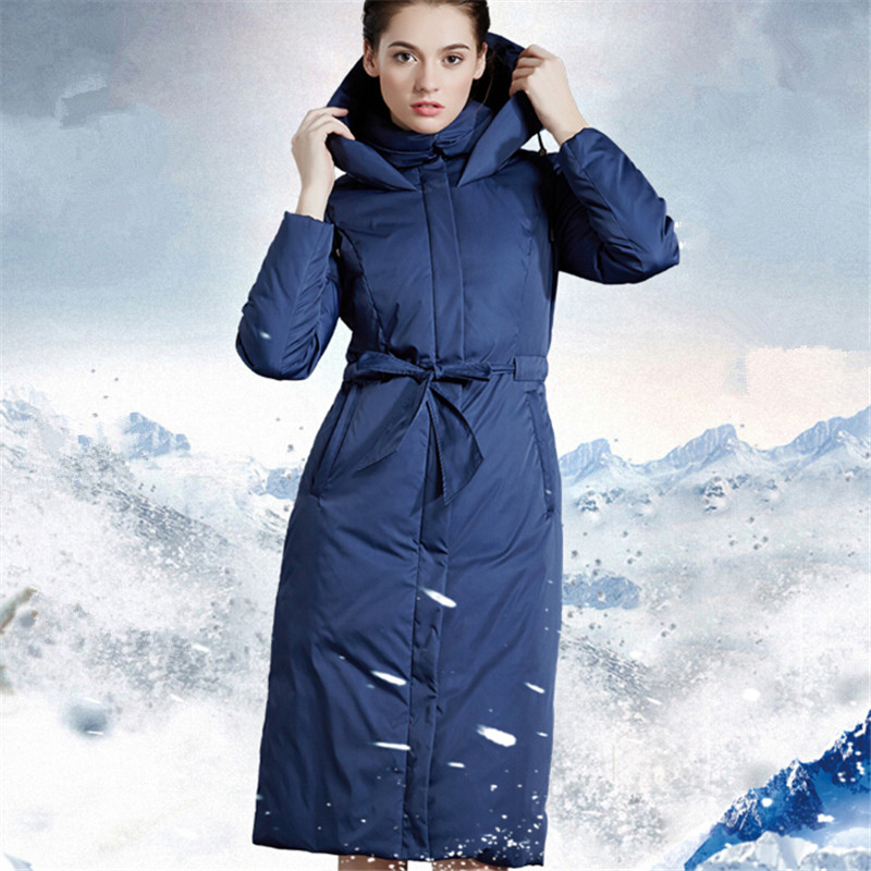 Goose down coat female 2017 new long over-the-knee thicken europe Lacing slim plus size hooded winter coat overcoat blue 3XL 2014 female new fashion waist thicken over knee parkas female long slim down jackets winter coat
