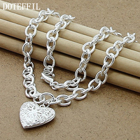 Photo Frame Fashion Jewelry 925 Sterling Silver Heart Pendant Necklaces For Women Wholesale Free Shipping