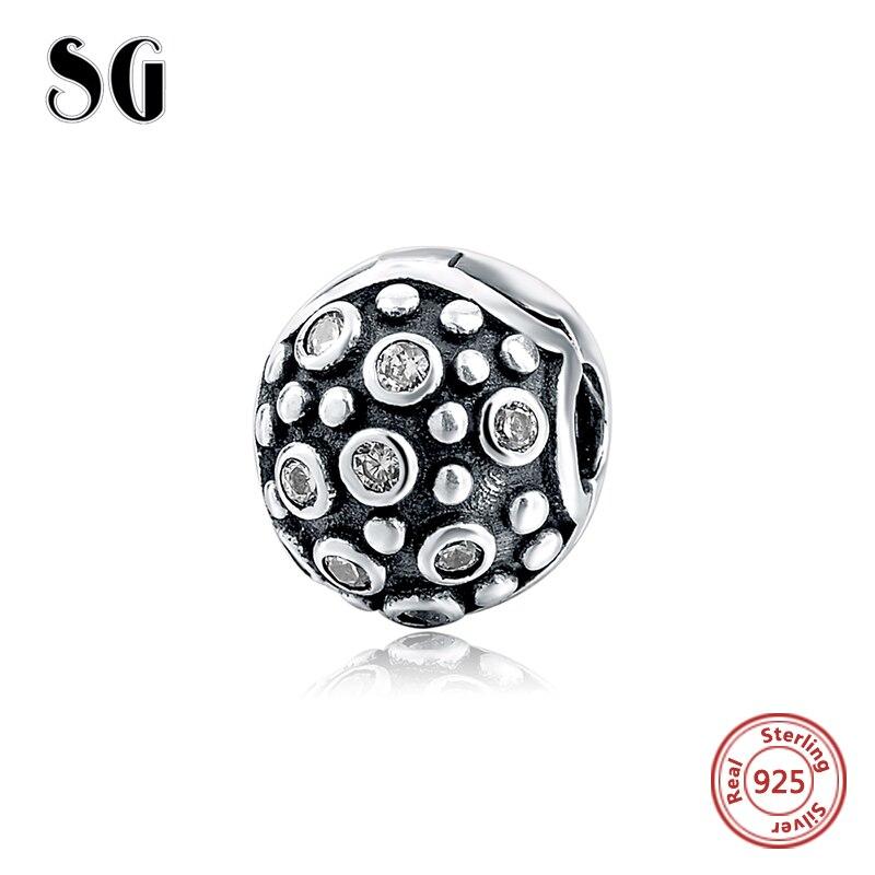 925 Silver Charm Clip Passar Original European Charms Armband med Clear Cubic Zirconia smycken 2017 Spring Style Autentiska pärlor