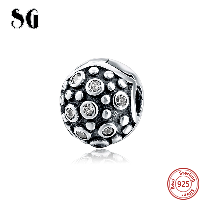 925 Silver Charm clip Fit Original pandora Charms Bracelet With Clear Cubic Zirconia jewelry 2017 Spring Style Authentic beads