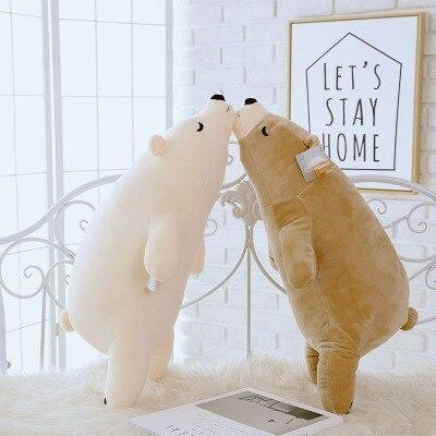 หมีขั้วโลกนุ่มยัดไส้ของเล่นผ้าฝ้าย PP หมีขั้วโลกตุ๊กตาน่ารักของเล่นตุ๊กตาของขวัญสำหรับคนรักเด็ก