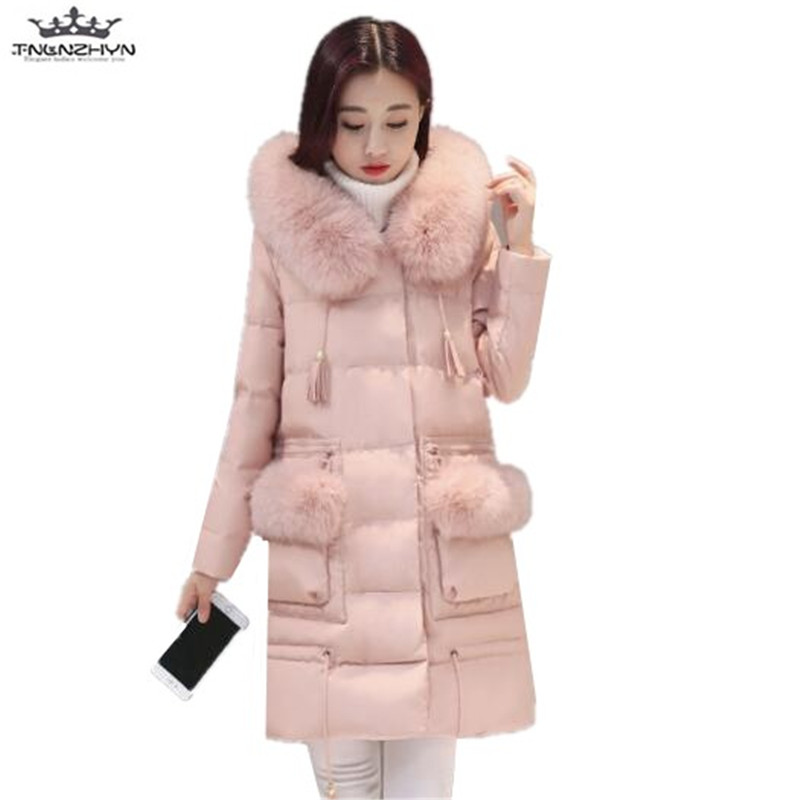 tnlnzhyn 2017 New Winter Women Coat Slim long Down Cotton Jacket Coat Thick Warm Cotton Jacket Hooded Fur Collar Parka Y627 thick hooded down jacket women slim print long winter coat camouflage y160