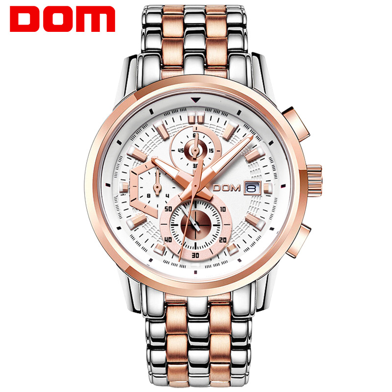 цена на man watch stainless steel DOM Brand sports fashion quartz military chronograph wrist watches men army style M6033G7M