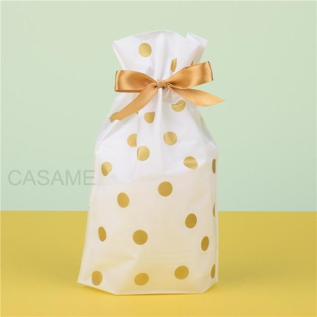 50 cái/lốc Vàng Dot Trắng Nhựa Dây Kéo Túi Túi Túi Túi Kẹo Sinh Nhật Đám Cưới Bên Trang Trí Nội Thất cho cookie kẹo bánh cho quà tặng