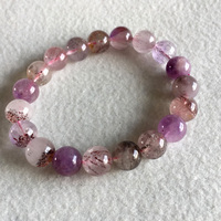 Natural Genuine Purple Hair Crystal Multi Colors Mix Super 7 Seven Bracelet Round Melody Stone 10 11mm