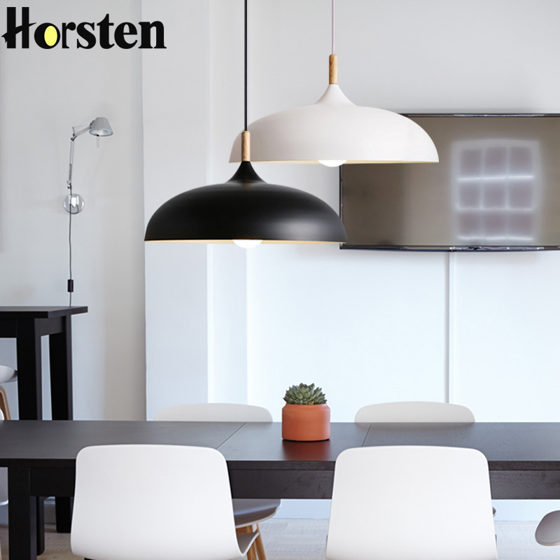 Horsten Nordic Simple Modern Pendant Lights Wood Aluminum Lampshade Industrial Lighting Loft Dining Room Pendant Lamp E27 yallo kids