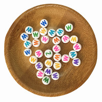 Free Shipping White With Colorful Printing Single Lettter W Printing Acrylic Plastic Alphabet Jewelry Beads 4