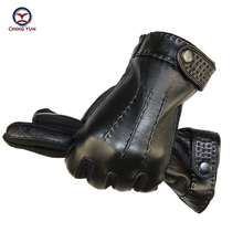 Winter man glove Sheep skin leather gloves male warm Super soft Stitching design Suede mens Operating mobile phone men mittens