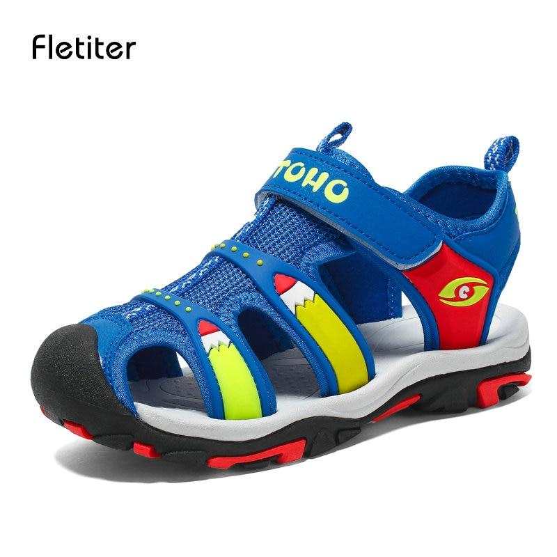 Fletiter Brand 2018 Summer Beach Sandals Kids Casual Children Shoes For Boys Sandals Non-slip Flat Toddler Boy Sandals Leather
