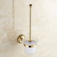 Gold Golden Color Brass Wall Mounted Toilet Brush Holder Glass Cup Set Bathroom Accessory Aba611