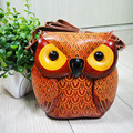 New genuine Leather Satchel Bag Handmade retro animal owl mini packet vertical zipper hard bag
