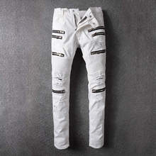 Famous Brand Designer White Ripped Denim Pant Knee Hole Zipper Biker Jeans Men Slim Skinny Destroyed Torn Jean Pants Mens Jeans