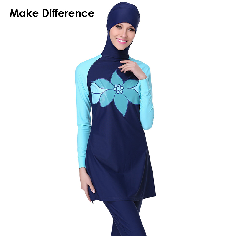 Make Difference Lotus Print Muslim Swimsuit Modest Islamic Suit 2 Pieces Connected Hijab Arab Swimwear Burkinis for Women Girls swimsuit muslim swimwear for women 2017 new swimsuit swimwear islamic arab muslim woman beach swimsuit size l 5xl