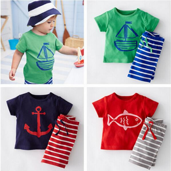 Summer Pirate Ship Cartoon Boys Kids Clothes Toddler Baby Boys Clothing Set Children Clo ...