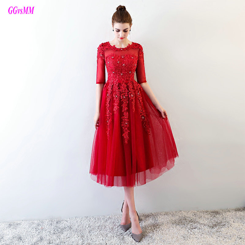 Luxury Burgundy   Prom     Dresses   Long 2018 Sexy O-Neck Tulle Appliques Lace-Up Formal   Prom   Gowns Tea-Length Evening Party   Dress   New