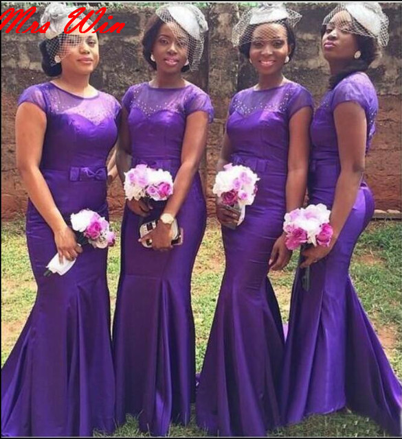 Purple Mermaid Long Bridesmaid Dresses With Short Sleeves Sheer Top Beaded  Formal African Black Girls Wedding Party Gowns Custom a5c6e250f7b2