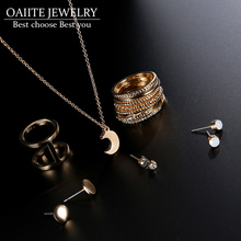 OAIITE Girl Jewelry Sets Steampunk Fashion Silver/Gold Color Midi Finger Ring Sets Stud Earrings Moon Pendant Necklace for Women