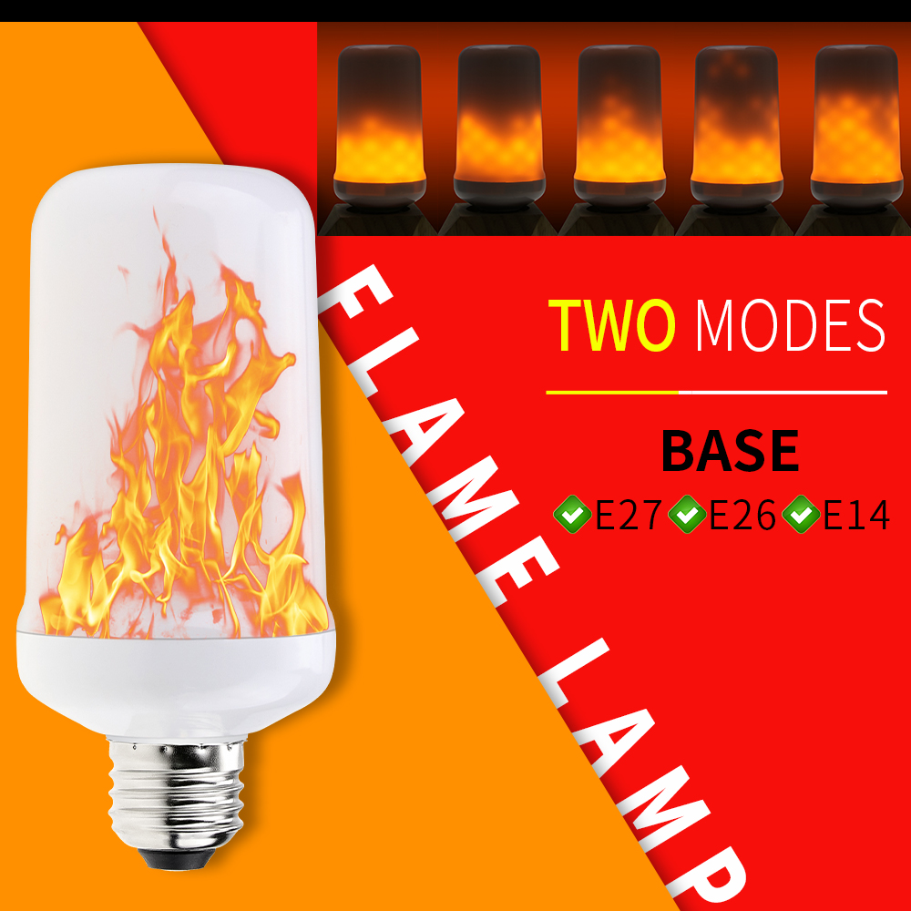 Flame Led Lamp E27 Led Flame Effect Bulb E27 Flame Lamp 3w 5w 7w E26 Dynamic Led Fire 220v E14 Flickering Emulation Led Burning Creative Light 110v