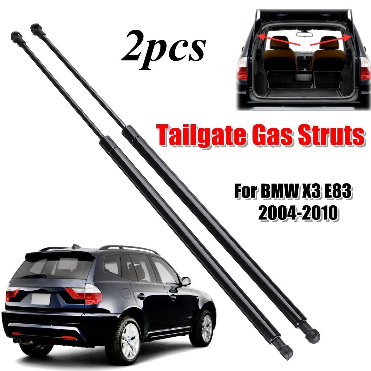 2Pcs Rear Trunk Tailgate Gas Spring Shock Lift Struts Support Rod Arm Bars Bracket 51243400379 For BMW E83 X3 2004 2005 - 20102Pcs Rear Trunk Tailgate Gas Spring Shock Lift Struts Support Rod Arm Bars Bracket 51243400379 For BMW E83 X3 2004 2005 - 2010