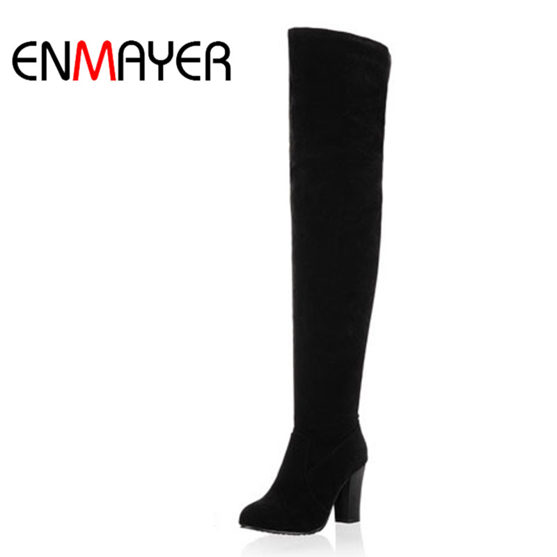 ENMAYER Black Blue Gray Over-the-Knee Boots Women Snow Fashion Winter Boots Shoes Women High Autumn Boots Size 34-43 Long Boots dijigirls new autumn winter women over the knee boots shoes woman fashion genuine leather patchwork long high boots 34 43
