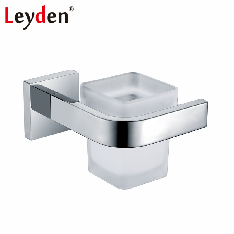 Leyden Stainless Steel Cup Tumbler Holder with Glass Cup Polished Chrome Wall Mounted Toothbrush Holder Bathroom Accessories image